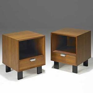 George nelson herman miller pair of walnut and zinc nightstands foil labels 24 14 x 18 x 19 12
