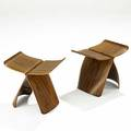 Sori yanagi tendo pair of rosewood and brass butterfly stools 1954 unmarked 15 x 17 x 12 14