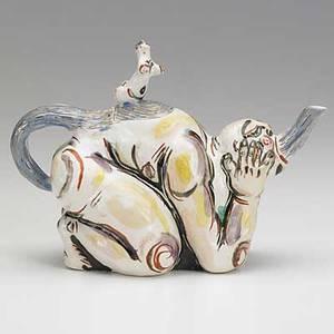 Akio takimori glazed porcelain figural teapot provenance garth clark gallery new york habatat galleries bloomfield hills mi unsigned 6 14 x 8 12