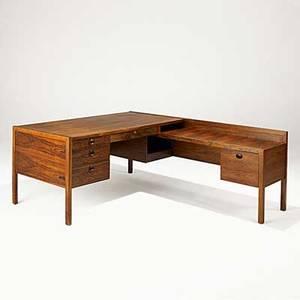 Edward wormley dunbar fine rosewood and brass desk late 1960s brass d label 29 x 60 x 72