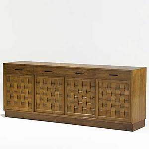 Edward wormley dunbar mahogany and brass woven front cabinet model 5668 brass dunbar tag 32 x 81 12 x 18 14