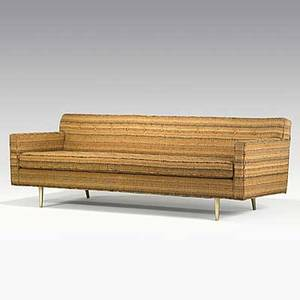 Edward wormley dunbar dorothy liebes wool and metallic strands fabric upholstered sofa on brass legs 1940s fabric label 29 12 x 84 12 x 33