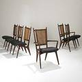 Vladimir kagan grosfeld house set of six walnut and cane dining chairs two with arms some bear grosfeld house cloth labels armchairs 40 12  x 23 12 x 22 12