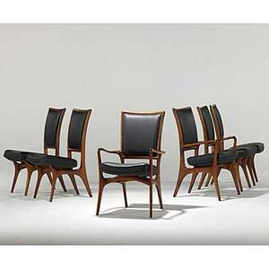 Vladimir kagan dreyfuss set of six sculpted walnut dining chairs two arm and four side 1950s unmarked 37 x 24 x 22 12