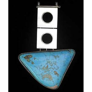 Oswaldo guayasamin sterling silver and turquoise pendant 1960s stamped guayasamin 5 x 3 14
