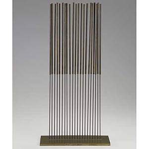 Harry bertoia brass sonambient sculpture with 21 rods together with four 33rpm records of sonambient music unmarked 24 x 12 x 4 18