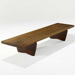 George nakashima black american walnut bench on figured base 1975 signed and dated 14 14 x 87 x 24