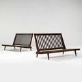 George nakashima pair of walnut cushion settees 1970s unmarked 37 x 48 x 36