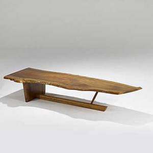 George nakashima fine and large english walnut and rosewood minguren i coffee table 1975 signed and dated and clients name provenance available 16 x 88 x 31