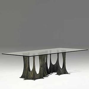 Paul evans sculpted bronze and glass dining table on serpentine base 1973 signed pe 73 28 34 x 96 x 48