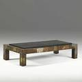 Paul evans copper bronze and slate cocktail table 1960s unmarked 16 x 32 x 68