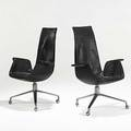 Preben fabricius  jurgen kastholm pair of leather and brushed steel bird chairs denmark unmarked 41 x 29 x 26
