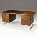Fabio lenci bernini rosewood and chromed steel executive desk italy unmarked 30 x 71 x 37