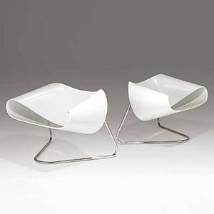 Cesare leonardi and franca stagi bernini pair of lacquered fiber glass and chromed steel ribbon chairs model cl9 italy 1961 remnants of paper label 24 x 39 x 29