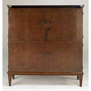 Paolo buffa attr fine burlwood brass marble and oak bar cabinet 1940s unmarked 64 12 x 56 14 x 17 12