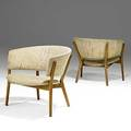 Nanna and jorgen ditzel poul kold pair of white oak and wool lounge chairs 1950s unmarked 26 12 x 30 x 27