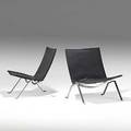 Poul kjaerholm fritz hansen pair of leather and matte chromed steel pk 22 lounge chairs denmark 1980s stamped and labels 28 12 x 25 x 25