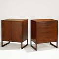Borge mogensen two teak and brass cabinets one with five drawers the other with two doors over shelves denmark 1958 unmarked each 35 12 x 27 34 x 19 34