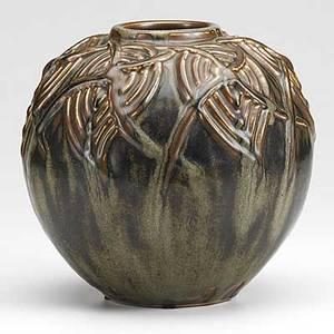 Axel salto royal copenhagen glazed stoneware globular vase matte brown and green glaze green stamp royal copenhagen denmark 3 lines etched salto 20561 8 12 x 8 12
