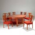 James mont polychrome wood dining table and eight chairs two leaves fabric labels table 29 12 x 63 dia leaves 12 chairs 35 x 21 x 21