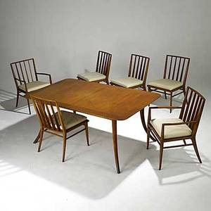 Th robsjohngibbings widdicomb mahogany klismos style dining table two leaves and six chairs four side two arm paper label on table chairs unmarked table 29 x 68 x 40 armchair 34 14