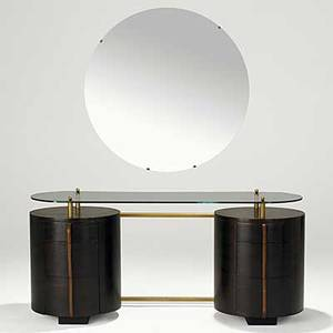 Gilbert rohde herman miller macassar ebony maple glass and brass double pedestal vanity 1940s foil label 26 12 x 58 x 21 12 mirror dia 35