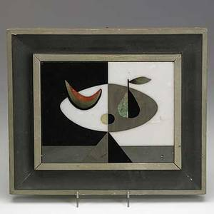 Richard blow montici pietra dura panel with still life in original frame m medallion tile 8 12 x 6 12
