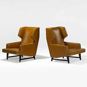 Edward wormley dunbar pair of spinneybeck leather and dark mahogany wingback chairs unmarked 37 x 26 12 x 32