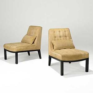 Edward wormley dunbar pair of mahogany and ribbed cotton velvet slipper chairs green metal dunbar label 31 12 x 32 x 22 12