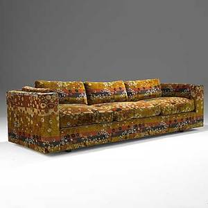 Edward wormley dunbar sofa upholstered in jack lenorlarsen cotton velvet 1960s embroidered dunbar 27 x 94 12 x 34