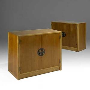 Edward wormley dunbar pair of bleached walnut mahogany and brass asian cabinets 1940s unmarked 34 14 x 38 x 20