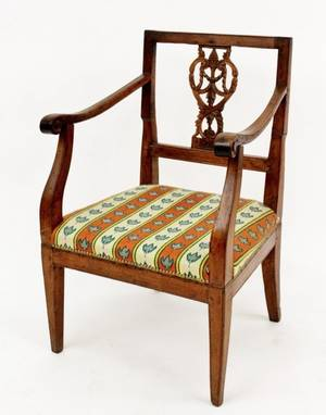 E 19th C Armchair with Carved Back Slat