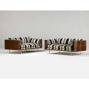Milo baughman thayercoggin pair of indonesian rosewood upholstery and chromedsteel settees 1970s one marked with fabric label 27 x 64 x 34