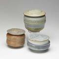 Karen karnes three glazed stoneware and porcelain covered vessels provenance acquired directly from the artist each stamped kk tallest 5 12