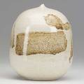 Toshiko takaezu glazed porcelain moonpot with rattle glossy and banded provenance acquired directly from the artist incised tt 6 14 x 5