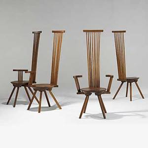 Jeffrey greene hickory and american black walnut dining chairs 1970s carved jeffrey greene and numbered 56 x 24 x 20