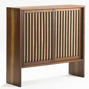 George nakashima walnut and pandanus cloth cabinet with adjustable shelves unmarked provenance available 34 x 36 x 11