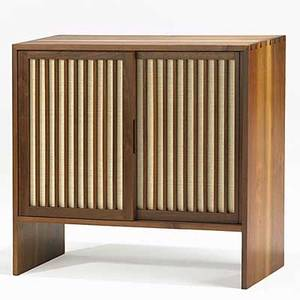 George nakashima walnut and pandanus cloth cabinet with adjustable shelves unmarked provenance available 34 x 36 x 16