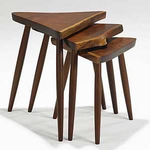 George nakashima set of three walnut nesting tables unmarked provenance available largest 21 x 21 x 16