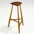 Wharton esherick tall cherry and hickory three legged stool 1970 carved signature we 1970 26 x 14