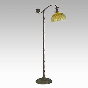 Tiffany studios bronze counterbalance floor lamp with contemporary green damascene glass shade base stamped tiffany studios new york 677 shade etched lindberg studios 53 x 21 x 11