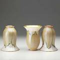 Quezal three lustered glass shades in pulled feather pattern each etched quezal 6 x 4 12