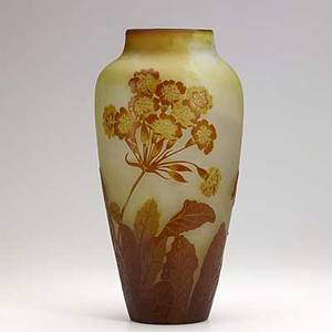 Galle tall cameo glass vase with russet blooms signed galle on body 14 14 x 7