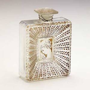 Lalique houbigant la belle saison clear and frosted glass perfume with sepia patina m p 941 no 3 molded made in france r lalique 4 x 2 34