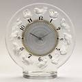 Lalique rossignols clear and frosted glass clock black enameled numbers 1931 m no 735 etched r lalique france 8 14 x 7 34