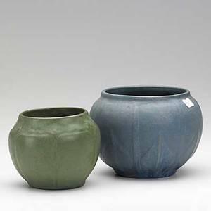 Van briggle two squat vessels 1907 provenance van briggle pottery both marked aa van briggle colo springs 1907 4 and 4 12