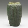Van briggle vase with stylized blossoms thick green and yellow glaze the clay showing through 190811 provenance van briggle pottery incised aa van briggle colo spgs 651 6 14 x 3 34