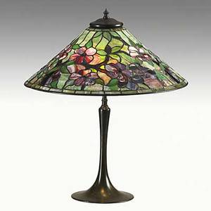 Riviere attr leaded glass and patinated bronze table lamp unmarked 24 x 20