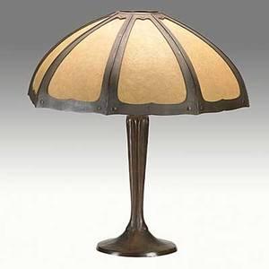 Handel bronze table lamp with brown mosserine panels shade base stamped handel 23 12 x 20