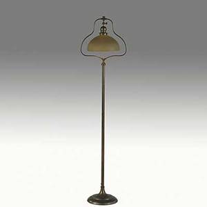 Handel bronze harp floor lamp with green mosserine glass shade bottom covered in original felt shade signed handel 6068 56 12 x 14 x 10